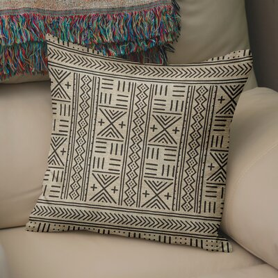 Bemelle Mud Cloth Geometric Throw Pillow Size: 16 H x 16 W, Color: Taupe/ Black