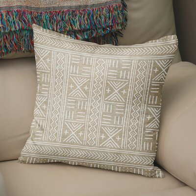 Bemelle Mud Cloth Geometric Throw Pillow Size: 24 H x 24 W, Color: Taupe/ Ivory