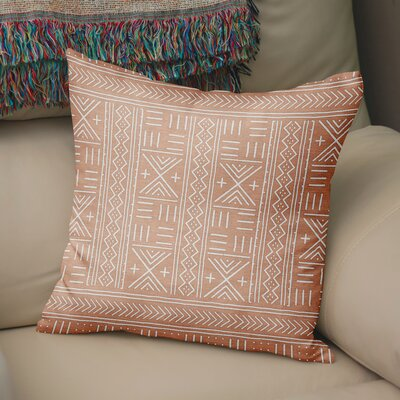 Bemelle Mud Cloth Geometric Throw Pillow Size: 16 H x 16 W, Color: Pink/ Ivory