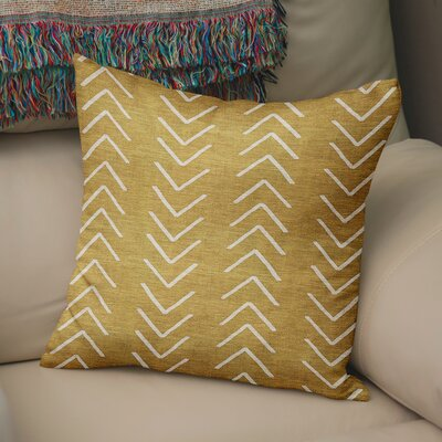Bemelle Mud Cloth Throw Pillow with Double Sided Print Size: 16 H x 16 W, Color: Gold/ Ivory