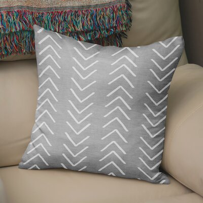 Bemelle Mud Cloth Throw Pillow with Double Sided Print Size: 16 H x 16 W, Color: Grey/ Ivory