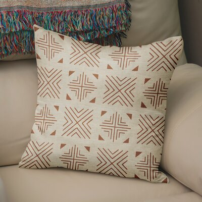 Bemelle Mud Cloth Throw Pillow Size: 16 H x 16 W, Color: Taupe/ Rust