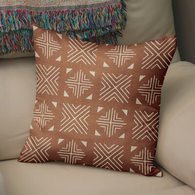 Bemelle Mud Cloth Throw Pillow Size: 18 H x 18 W, Color: Taupe/ Rust
