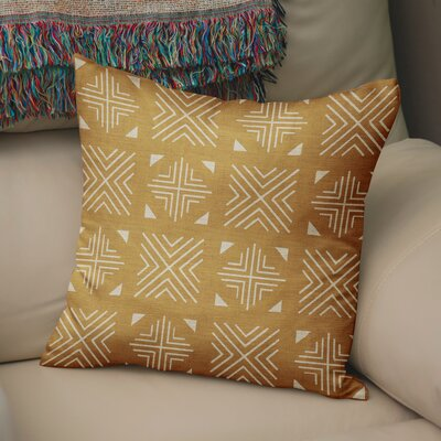 Bemelle Mud Cloth Throw Pillow Size: 18 H x 18 W, Color: Gold/ Ivory