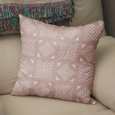 Bemelle Mud Cloth Throw Pillow Size: 16 H x 16 W, Color: Pink/ Ivory