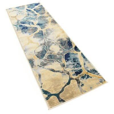 Jani Traditional Beige/Blue Area Rug Rug Size: Runner 2 x 6