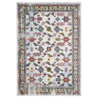 Amot Bright Botanical Cream/Swirl Red/Blue Area Rug Rug Size: Rectangle 3' x 5'