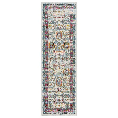 Amot Bright Oriental Pink/Green/Yellow Area Rug Rug Size: Runner 2'3