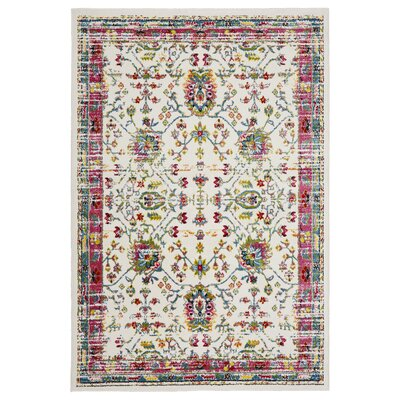 Amot Bright Oriental Pink/Green/Yellow Area Rug Rug Size: Rectangle 7'9