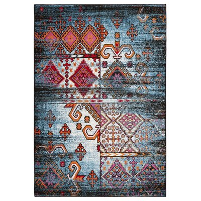 Amot Distressed Geometric Blue/Red Area Rug Rug Size: Rectangle 3' x 5'