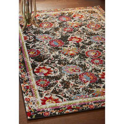 Amot Luminous Floral Black/Red/Orange Area Rug Rug Size: Rectangle 51 x 75