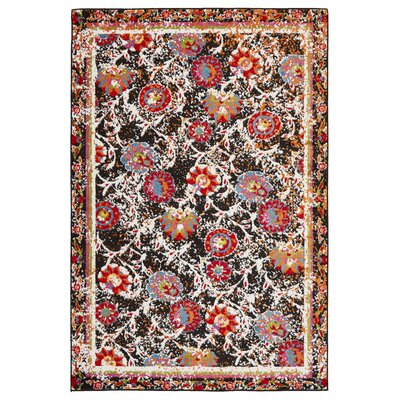 Amot Luminous Floral Black/Red/Orange Area Rug Rug Size: Rectangle 3 x 5