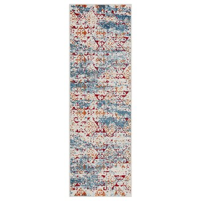 Amot Distressed Damask Stripe Orange/Red/Blue Area Rug Rug Size: Runner 23 x 7