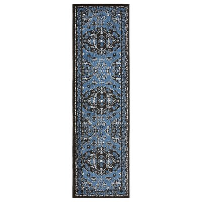 Apsel Black/Spa Blue Area Rug Rug Size: Runner 21 x 75