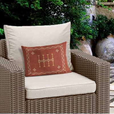 Cristo Outdoor Lumbar Pillow Color: Rust/ Orange