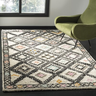 Glenoe Hand-Woven Ivory/Gray/Orange Area Rug Rug Size: Rectangle 8 x 10