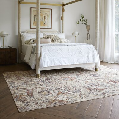 Dietrick Hand-Hooked Ivory Area Rug Rug Size: Rectangle 96 x 126
