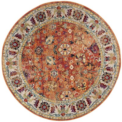 Mcintosh Orange Area Rug� Rug Size: Round 7