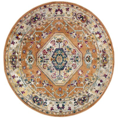 Mcintosh Orange/Blue Area Rug� Rug Size: Round 7