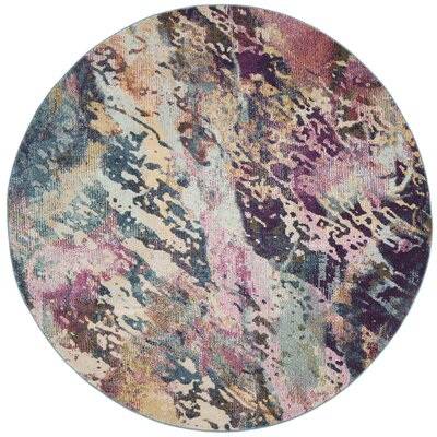 Mcintosh Contemporary Blue/Purple Area Rug� Rug Size: Round 7