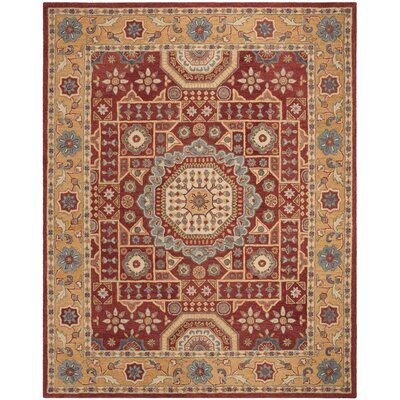 Murray Hand Tufted Wool Red Area Rug Rug Size: Square 6