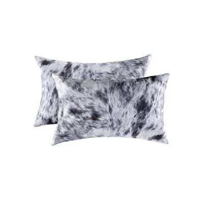 Graham Leather Lumbar Pillow Color: Black/White