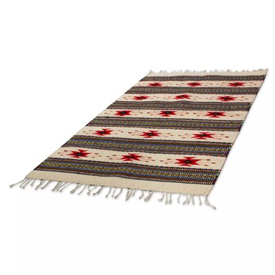 Mcfarlin Stars Over Zaachila Hand-Woven Wool Ivory Area Rug