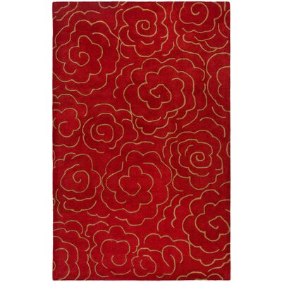 Karuna Hand-Tufted Red Area Rug Rug Size: Rectangle 5 x 8