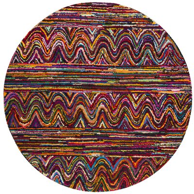 Celise Hand-Tufted Pink/Blue/Yellow Area Rug Rug Size: Round 6 x 6