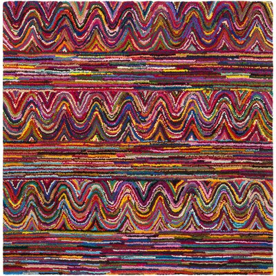 Celise Hand-Tufted Pink/Blue/Yellow Area Rug Rug Size: Square 6 x 6