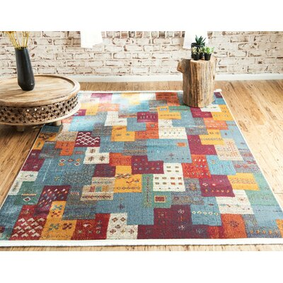 Rolling Hills Estates Rustic Yellow/Red/Blue Area Rug Rug Size: Rectangle 22 x 3