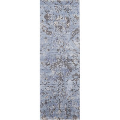 Culbreth Hand-Knotted Sky Gray Area Rug Rug Size: Runner 23 x 8