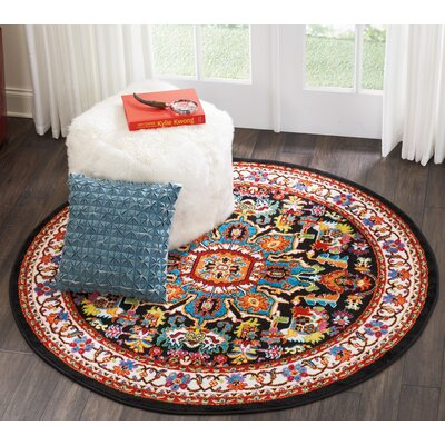 Cullens Black Area Rug Rug Size: Round 53