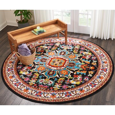 Cullens Black Area Rug Rug Size: Round�710