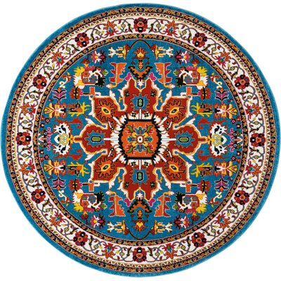 Cullens Blue Area Rug Rug Size: Round�710
