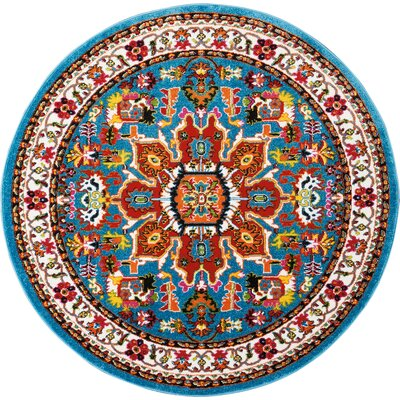 Cullens Blue Area Rug Rug Size: Round 53