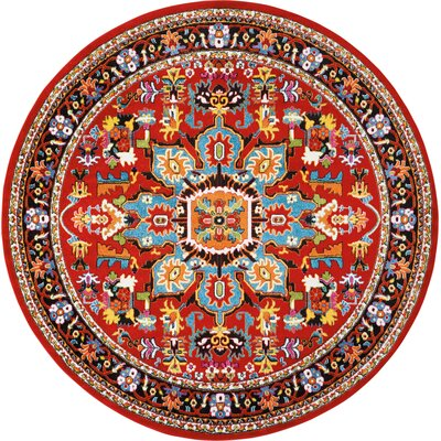 Cullens Red Area Rug Rug Size: Round�710