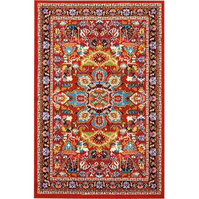 Cullens Red Area Rug Rug Size: Rectangle�4 x 6