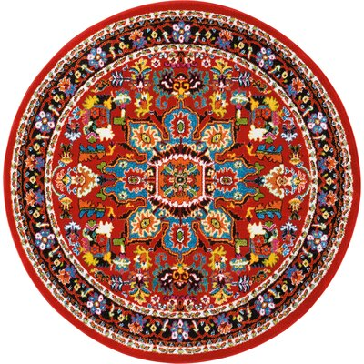 Cullens Red Area Rug Rug Size: Round 53