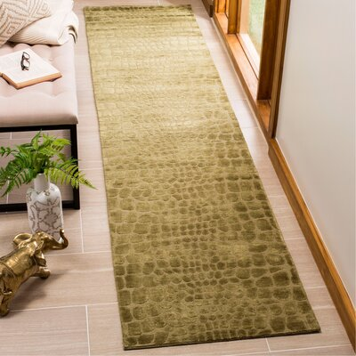 Scottfield Hand Tufted Silk/Wool Green Area Rug