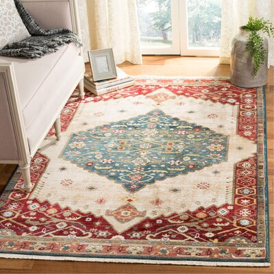 Murphy Dark Green/Red Area Rug Rug Size: Rectangle 8 x 10