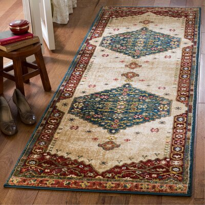 Murphy Dark Green/Red Area Rug Rug Size: Runner 26 x 8