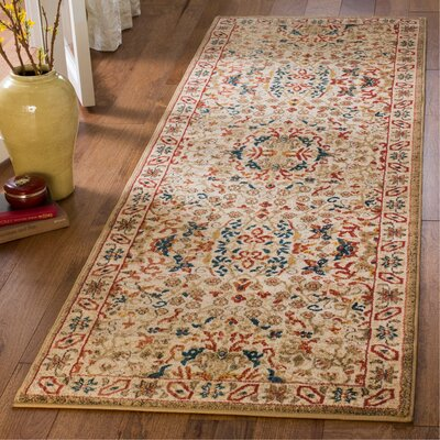 Murphy Traditional Ivory Area Rug Rug Size: Runner 26 x 8