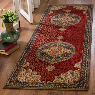 Murphy Red Oriental Area Rug Rug Size: Runner 26 x 8