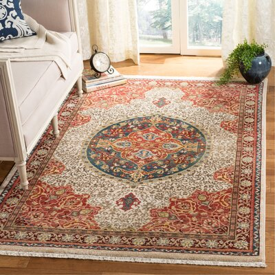 Murphy Ivory/Red Area Rug Rug Size: Rectangle 3'3