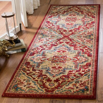 Murphy Traditional Red Oriental Area Rug Rug Size: Runner 26 x 8