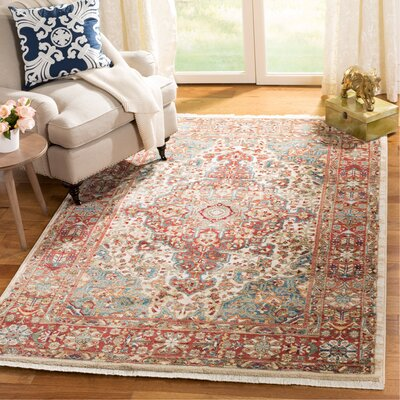 Murphy Traditional Ivory/Blue Area Rug Rug Size: Rectangle 9 x 12