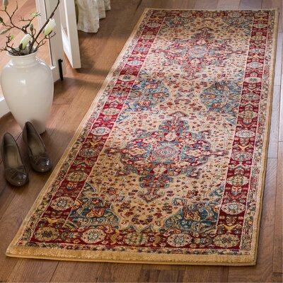 Murphy Ivory/Red Area Rug Rug Size: Runner 26 x 8