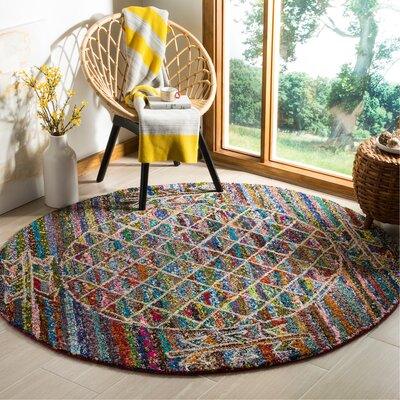 Mueller Hand Tufted Cotton Blue/Pink/Yellow Geometric Area Rug Rug Size: Round�6