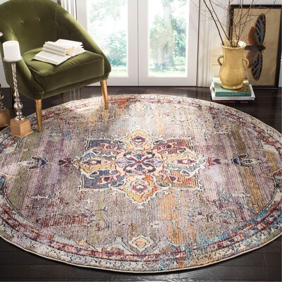Mcintosh Boho Blue/Purple Area Rug� Rug Size: Round 7